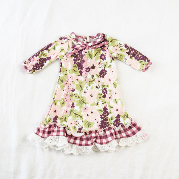 Doll Gown - Plum Floral