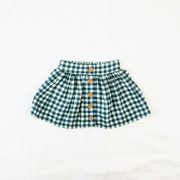 Linen Skirt - Navy Check