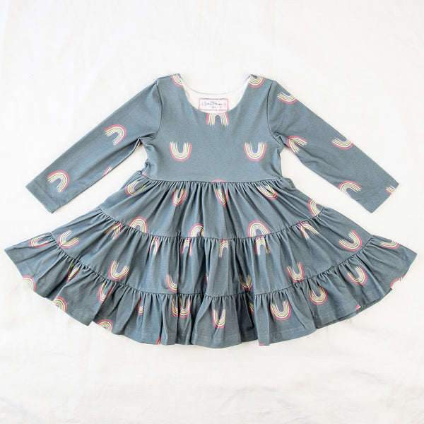 Flair Dress - Dusty Blue Rainbow