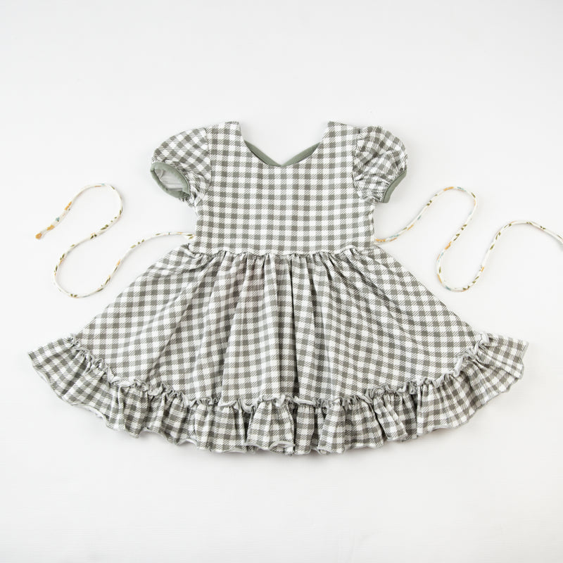 Flair Dress - Sage Check