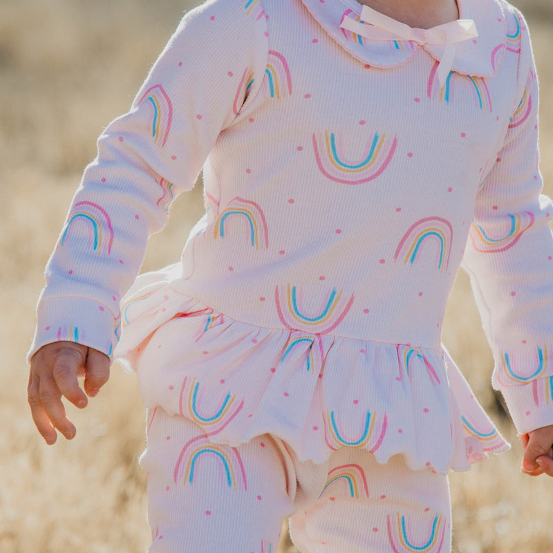 Peplum Set - Rainbow Dotty