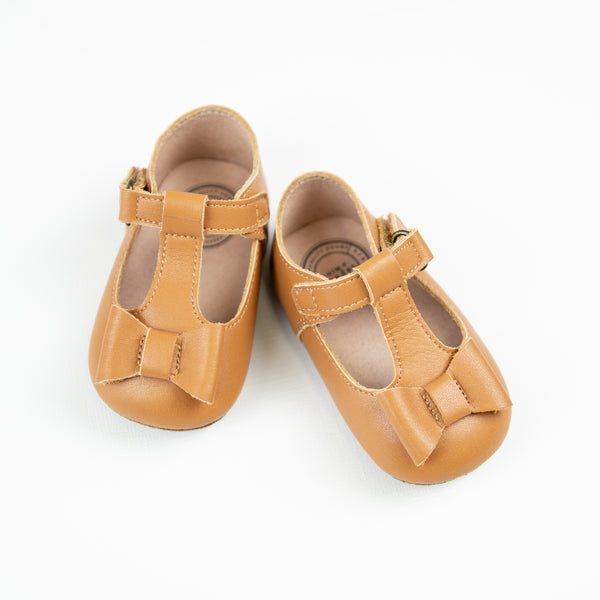 Infant Mary Jane Bows - Camel