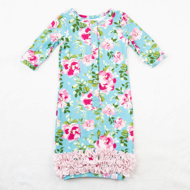 Dreamer Infant Gown - Swirly Floral Aqua