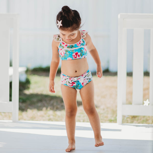 Retro Tankini - Swirly Floral Pinks