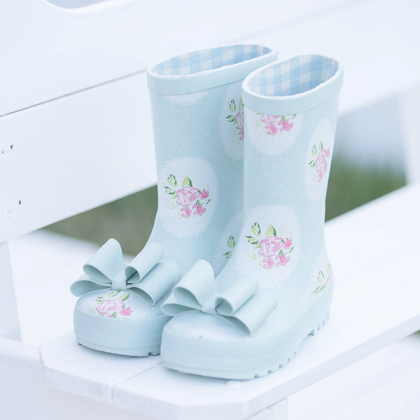 Cheery Rain Boot - Framed Roses Bow