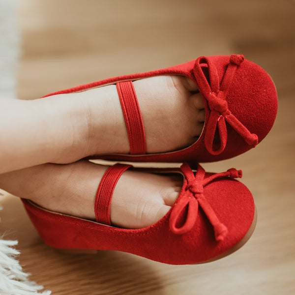 Small Bow Suede Ballet - Red