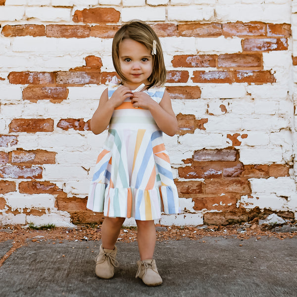 Flair Dress - Rainbow Sherbert Stripe