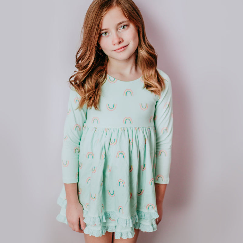 Belle Tunic - Painted Rainbows Mint