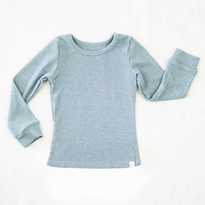 Lanie LS Layering Top - Dusty Blue