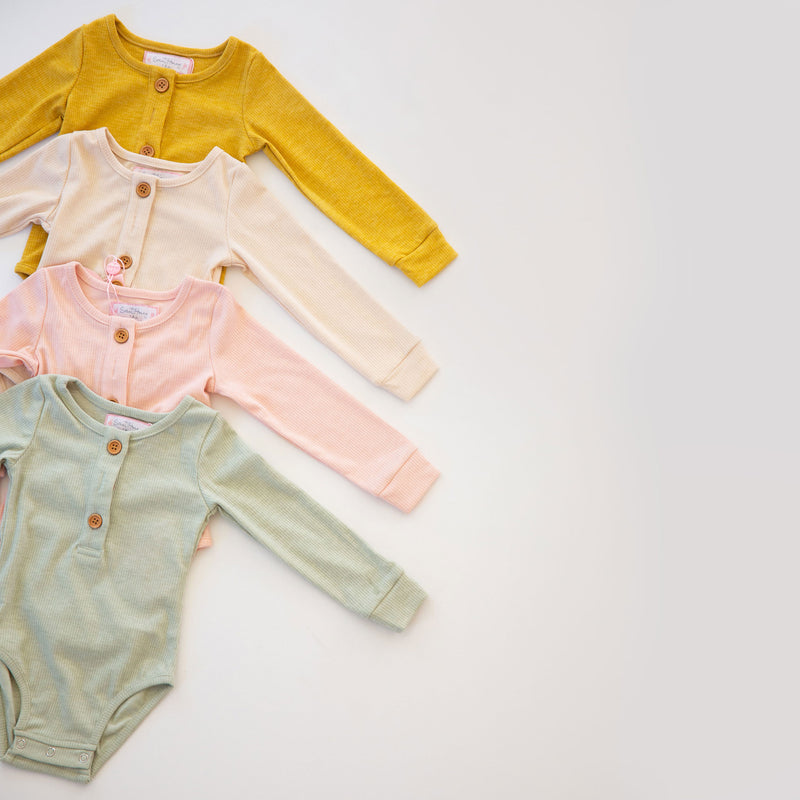 Long Sleeve Henley Bodysuit - Multiple Color Options