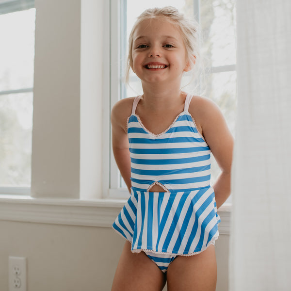 Morgan Skirted One Piece - Stripes Periwinkle