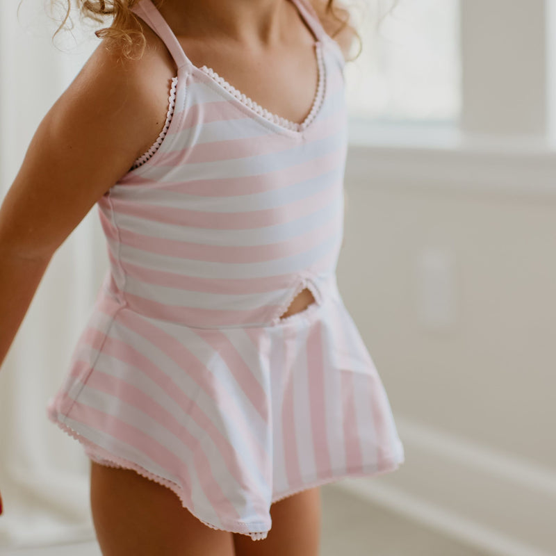 Morgan Skirted One Piece - Striped Soft Pink