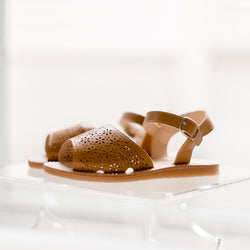 Cut Out Sandal - Brown Leather