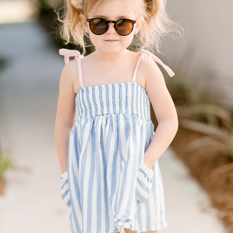 Smocked Beach Tunic - Stripes Periwinkle