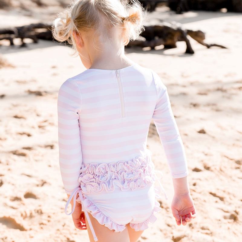 Solid Rash Guard - Striped Soft Pink