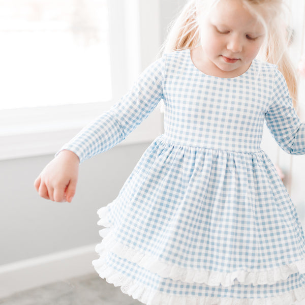 Belle Tunic - Blueberry Gingham