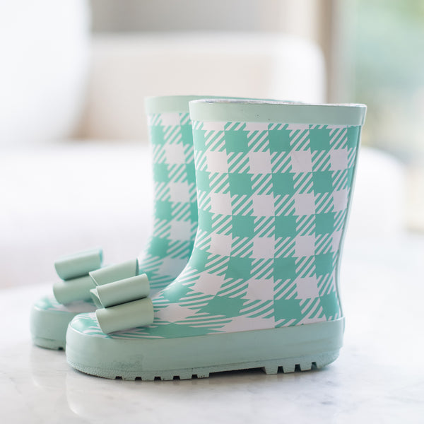 Cheery Rain Boot - Mod Check Aqua