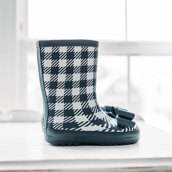 Cheery Rain Boot - Mod Check Navy