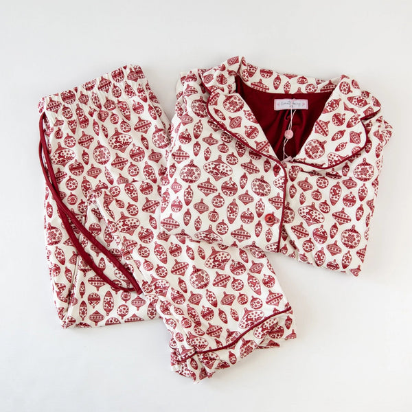 Women's Cozy PJ - Vintage Ornaments Scarlet