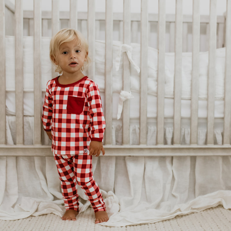 Dreamer Toddler 2-Piece - Scarlet Check - Final Sale