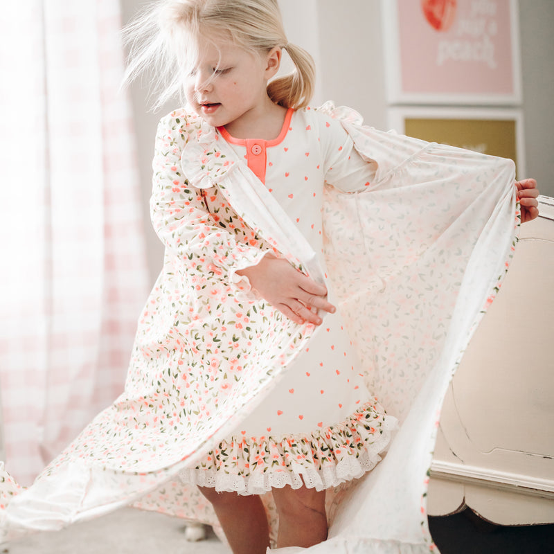 Sweet Ruffled Robe - Scattered Hearts