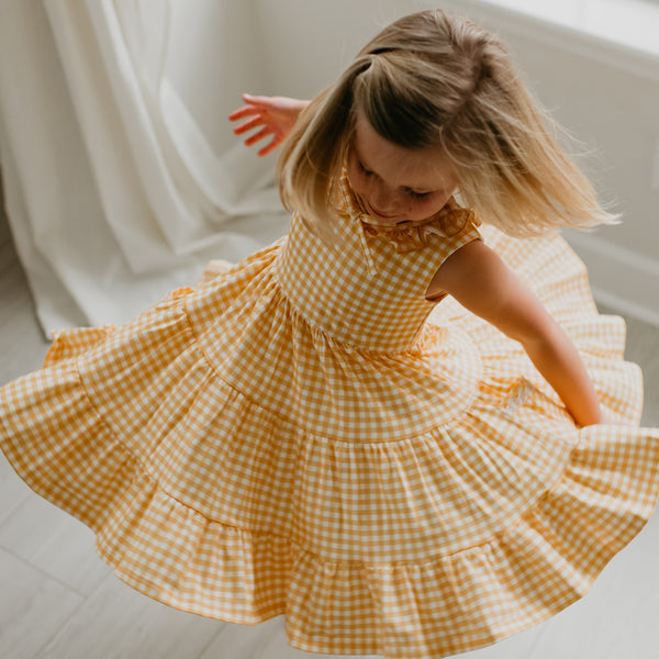 Flair Dress - Butter Pecan Gingham