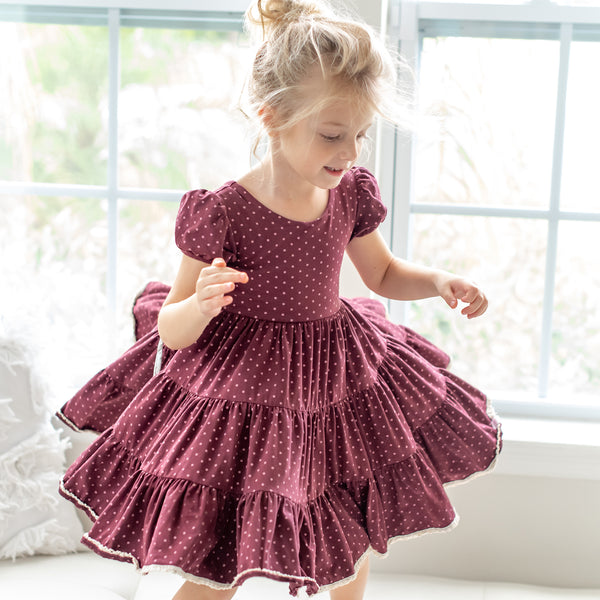 Flair Dress - Plum Dot
