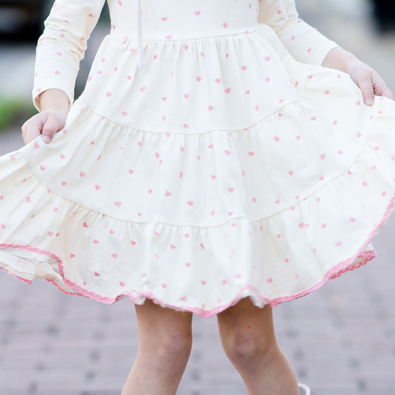 Flair Dress - Scattered Pink Hearts