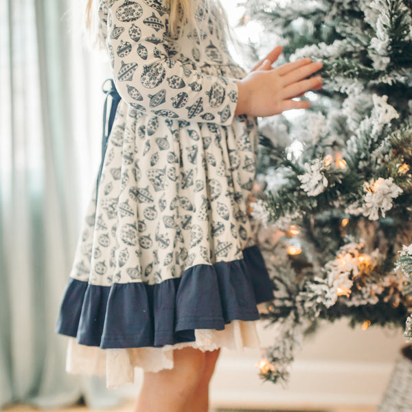 Flair Dress - Vintage Ornament Navy - Final Sale