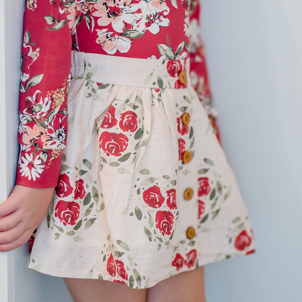 Garden Skirt - Starlight Scarlet Circle on Rose - Final Sale