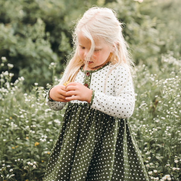 Hazel Dress - Green Dotty Days