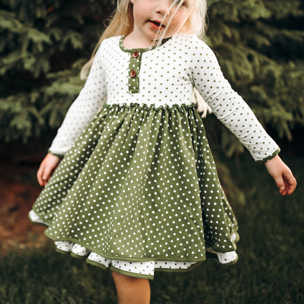 Hazel Dress - Green Dotty Days - Final Sale