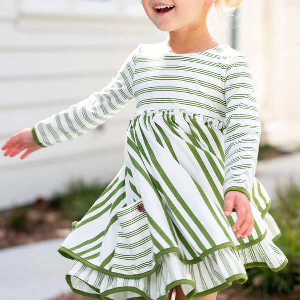 Hazel Dress - Green Stripe