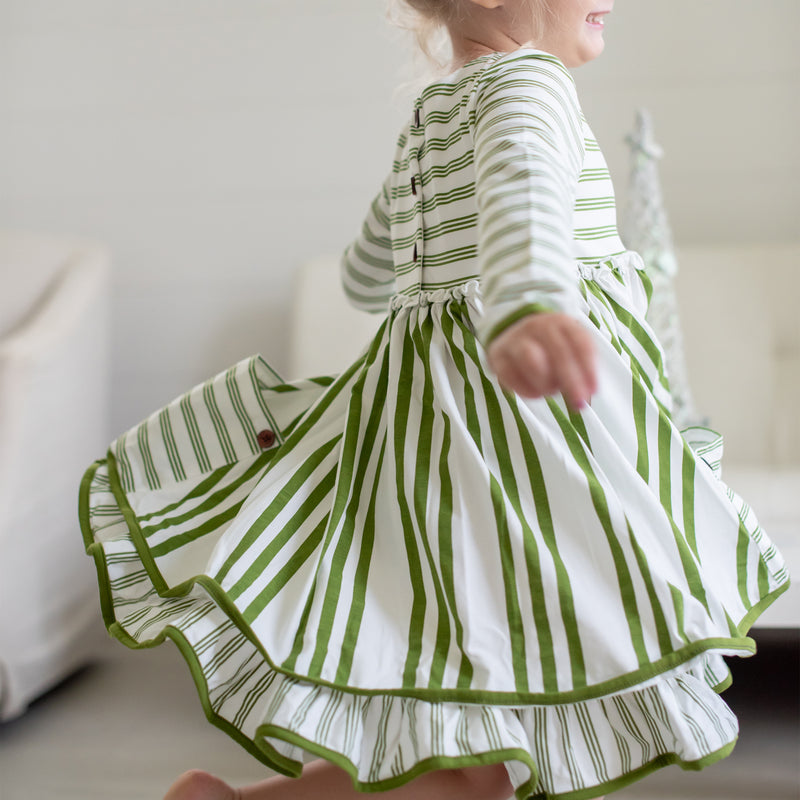 Hazel Dress - Green Stripe - Final Sale