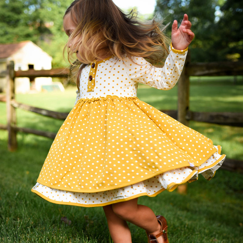 Hazel Dress - Mustard Dotty Days