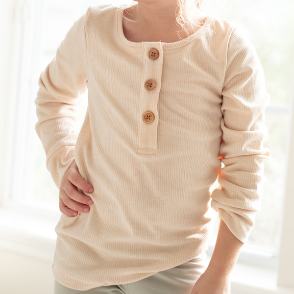 Long Sleeve Henley - Oats