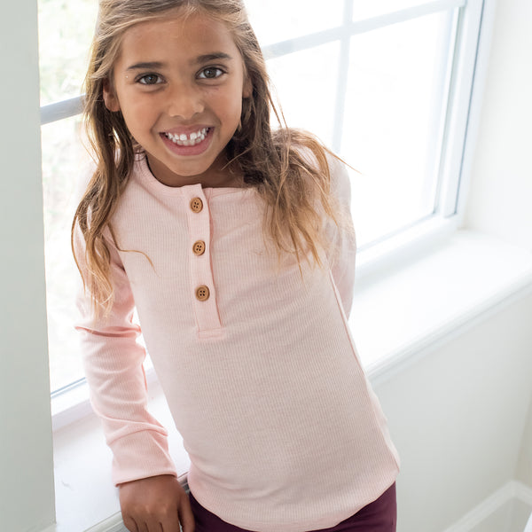 Long Sleeve Henley - Fuzzy Peach