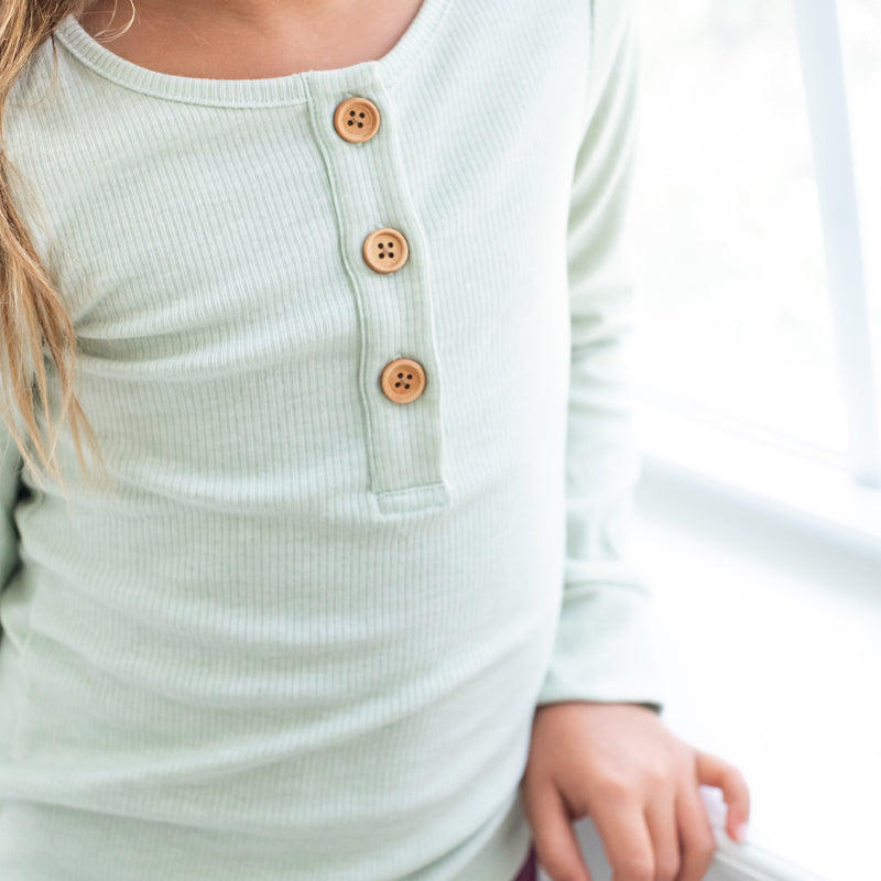 Long Sleeve Henley - Sage