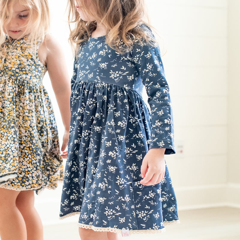 Josie Dress - Little Navy Daisies
