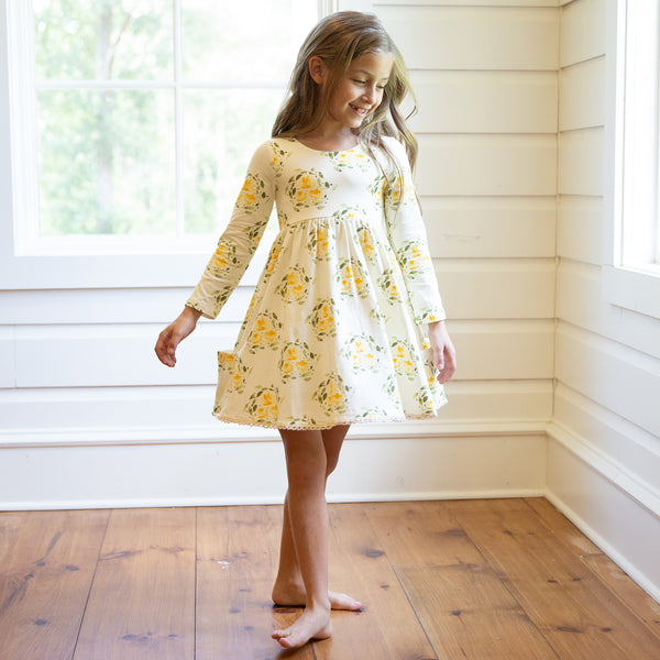 Josie Dress - Starlight Circle Gold on Cream - Final Sale