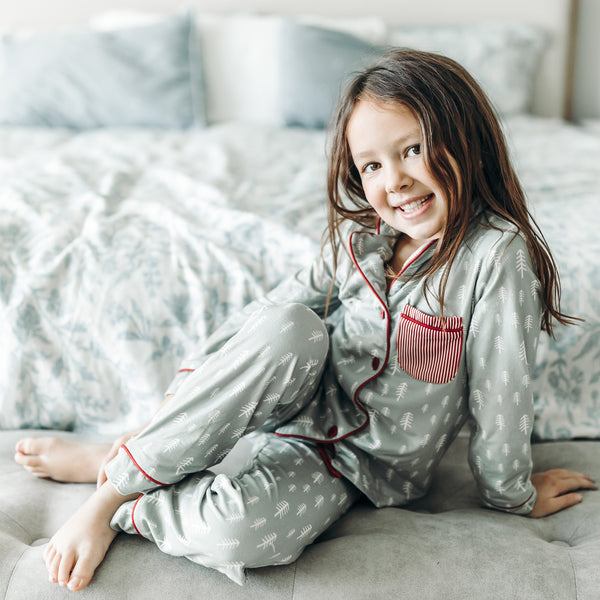 Kid's Cozy PJ - Sage Trees - Final Sale