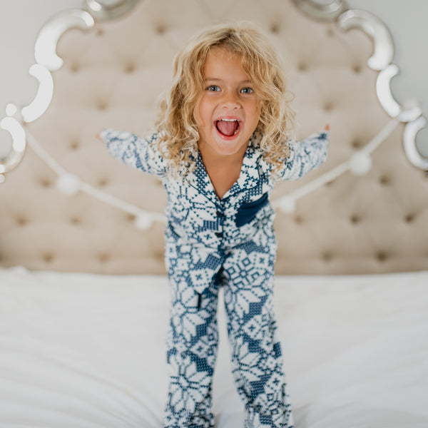 Kid's Cozy PJ - Sweater Snowflake Navy - Final Sale