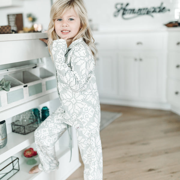 Kid's Cozy PJ - Sweater Snowflake Sage - Final Sale