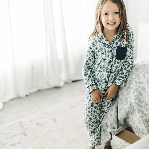 Kid's Cozy PJ - Vintage Ornaments Navy - Final Sale