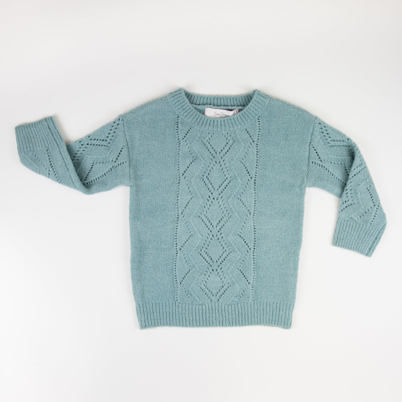 Knitted Pullover Sweater - Blue