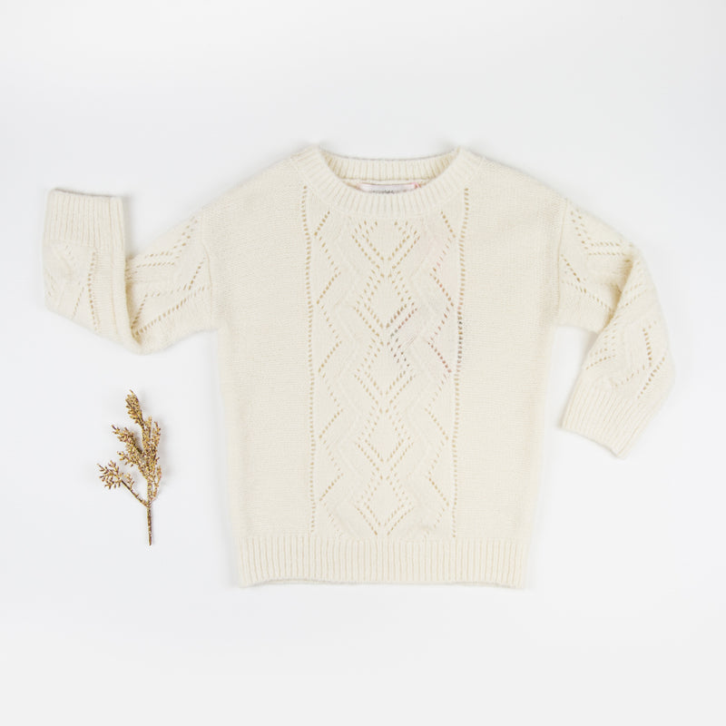 Knitted Pullover Sweater - Cream