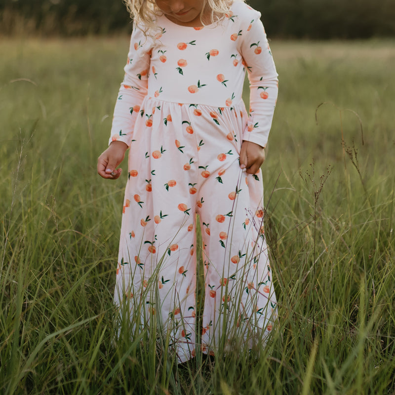 Leggy Sleeved Romper - Rosey Peach - Final Sale
