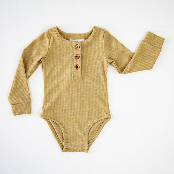 Long Sleeve Henley Bodysuit - Gold
