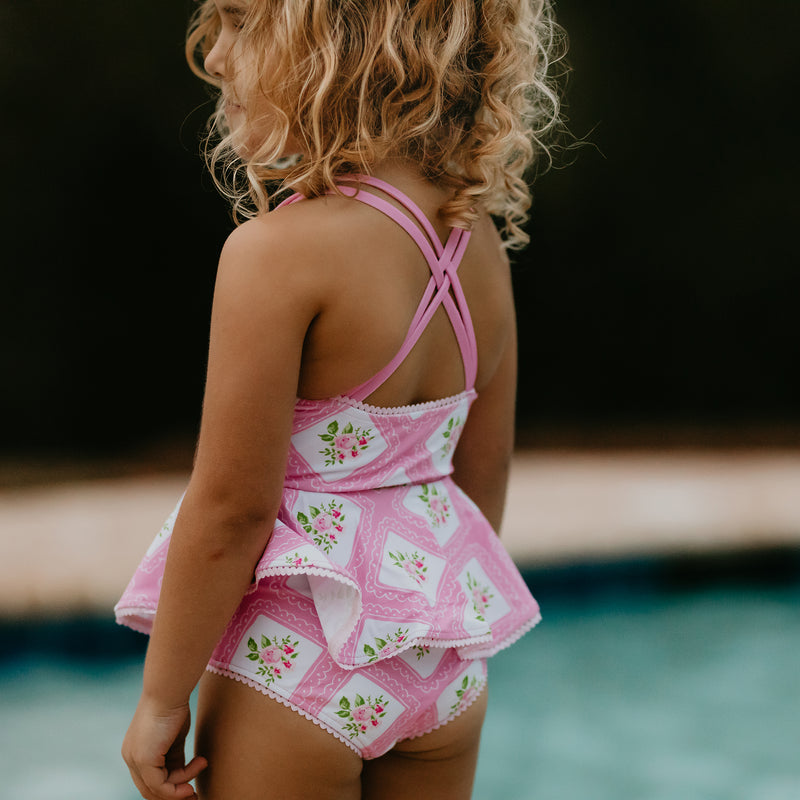 Morgan Skirted One-Piece - Strawberry Petit Four