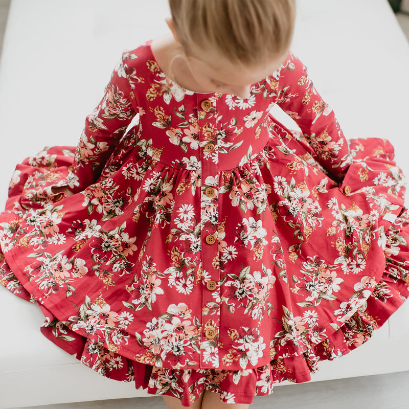 Prim Dress - Coneflower Scarlet